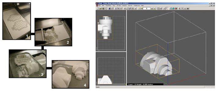 Модель в ПО, в виртуальной камере построения и во время 3D печати