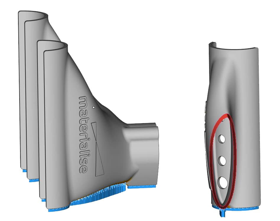 Вид поддержек для 3D печати в Materialise Magics