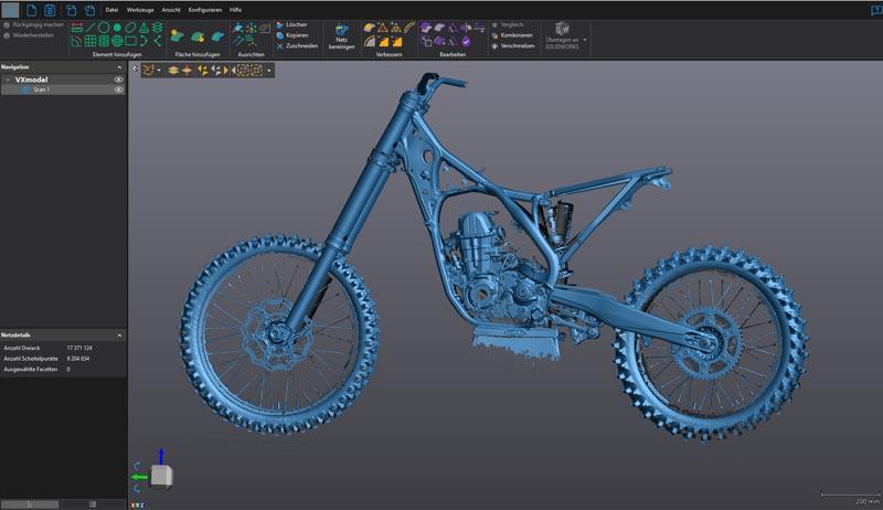 Результаты 3D сканирования мотоцикла