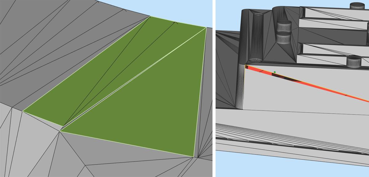 Перестроение областей конфликтующих полигонов и сшивка сторон обособленных полигонов