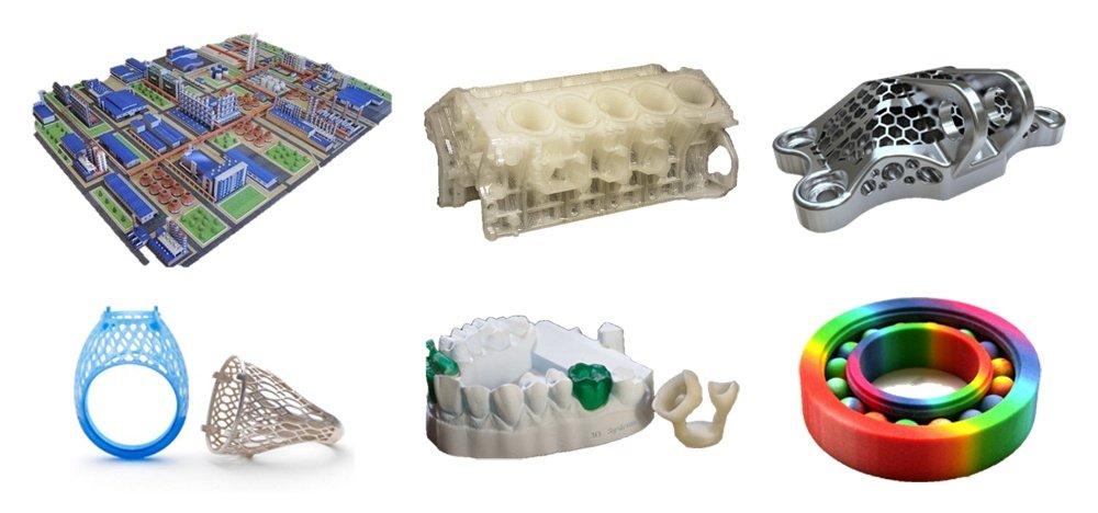 Изделия из различных материалов, напечатанные на 3D-принтерах